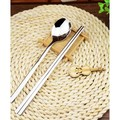 【啥嚨嗚】304不鏽鋼餐具 方筷 不鏽鋼筷子 不鏽鋼湯匙 湯匙 筷子 湯杓 叉子 餐具 不鏽鋼餐具組 日式布袋 環保(6元)