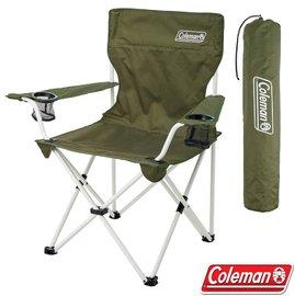 【美國 Coleman】渡假休閒椅.雙扶手折疊椅.導演椅.折合椅.露營椅.童軍椅/附收納袋.後背置物袋/CM-33560 綠橄欖
