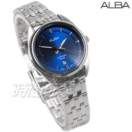ALBA雅柏錶 都會城市風格 日期顯示窗 防水 藍寶石水晶玻璃 不銹鋼 藍色 女錶 AH7V49X1 VJ22-X323B