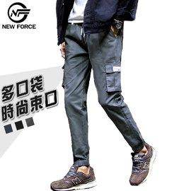 【NEW FORCE】百搭多口袋九分束口工作褲-深灰