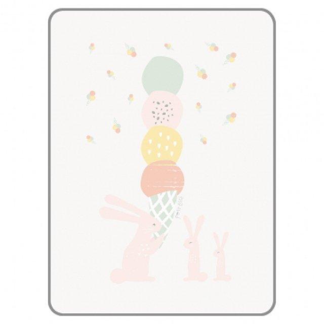 韓國 Petit Bird 竹纖維~嬰幼兒防水保潔床墊(防尿墊)—冰淇淋與兔子家族~100X130CM